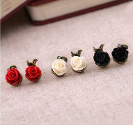 Red Lovely Flowers Canada - European Jewelry Antique Gold Plated Lovely Rose Flower Earring Stud for Lady Girls Metal Alloy Base 24pairs