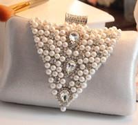 ingrosso sacchetto nero di nozze-New Brital Hand Bag Crystal Wedding Donna Pochette Perle strass Argento Viola Nero Grigio Golden Fashion Party