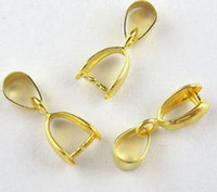 Wholesale Gold Pinch Clasp - 100Pcs Copper Necklace Pinch Bail Pendant Clasp Connector Plated Gold (001287)