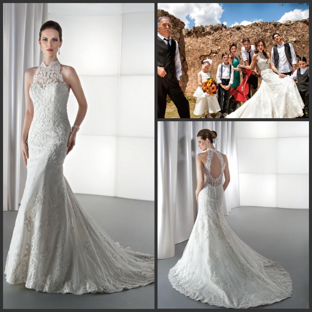 Classy Wedding Gown: Sexy Elegant Mermaid Drop Back Bridal Gown Demetrios Lace