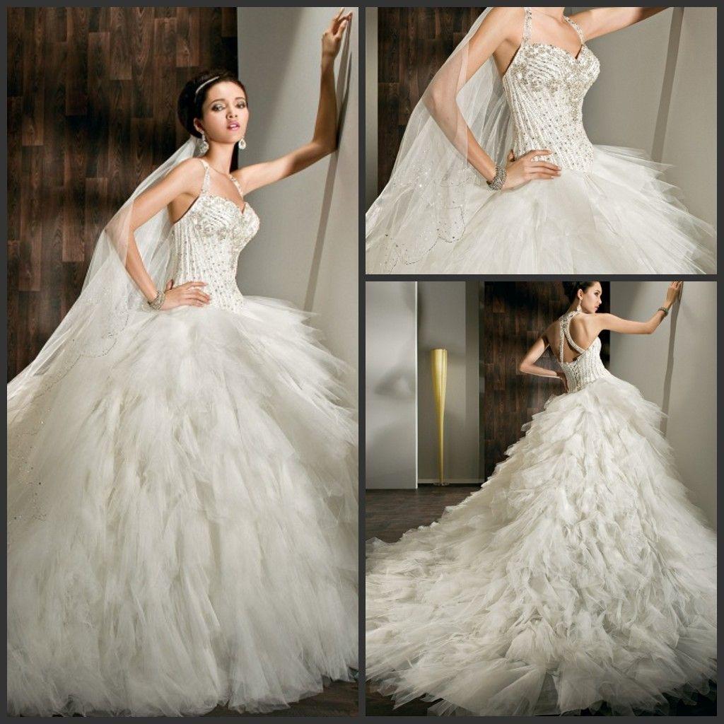 Dimitri Wedding Gowns: Discount Luxury Halter Demetrios Beaded Wedding Dresses