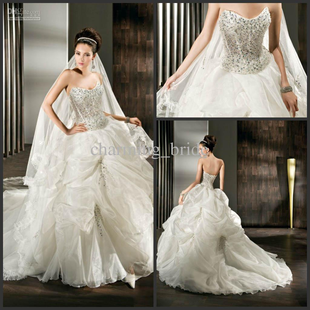Modern Sweetheart Wedding Dresses Beaded Corset Tulle Bridal Gown Ball Bustled Chapel Train Informal Dress Lace From