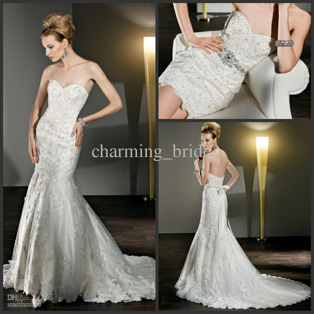Sweetheart Lace Mermaid Detachable Train Wedding Dresses Bow Sash Chapel Gown Sexy From Charming Bride
