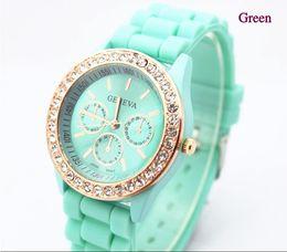 Wholesale Pink Rose Quartz Jewelry - Free Shipping Fashion Jewelry Rose Diamond Stone Geneva Watch Candy Jelly Silicone Band 10pcs  lot
