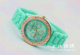 Wholesale Green Colour Watches - Fashion diamond stone Geneva watch candy jelly silicone band Unisex Quartz 11 colours watches 1 pcs