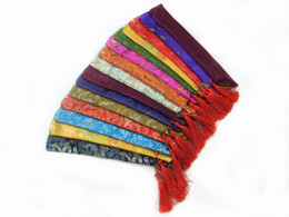 Wholesale Chinese Color Bags - Silk brocade Printed Chopstick Bag Chinese style Tassel Pouch 50pcs lot mix color Free