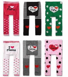 Wholesale Love Mama Papa Pants - New Spring Fall Baby Leggings Tights Pants I LOVE PaPa Dad & MAMA Mom Trousers Panties 18pair lot