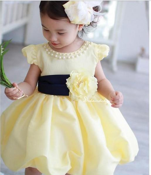 9612f62eeb3f 2019 1 5Y 4size Baby Girls Dress Bright Yellow Princess Party Dress ...