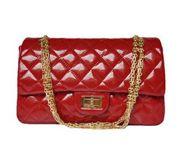 Patent leather totes online shopping - Designer women handbags Luxury patent leather handbag hardware chain big discounted