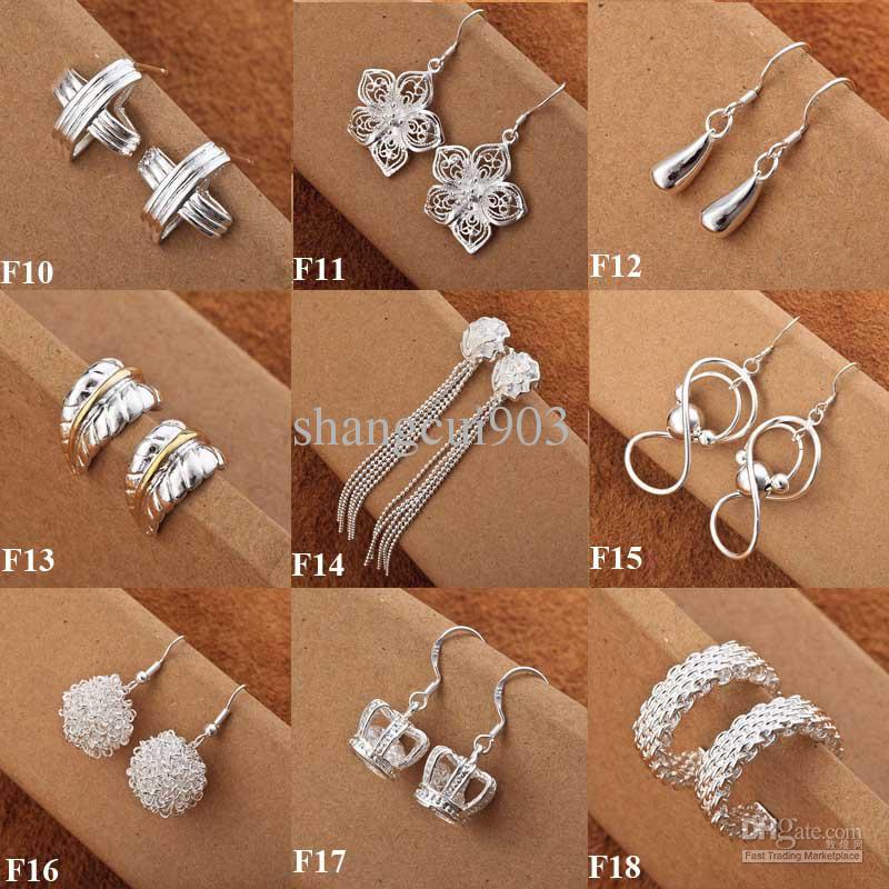 Mix Styles Fashion 925 Silver Cute Ladies Ciondola gli orecchini Multi Choices Orecchini Mixed