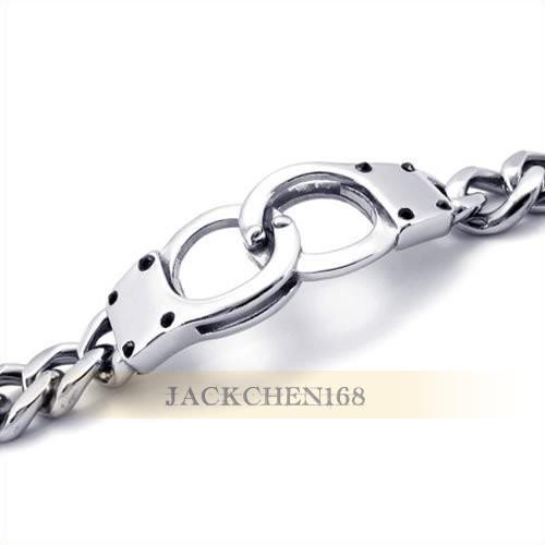 Schmuck Edelstahl Handschellen Armband - Silber - 8,2 Zoll