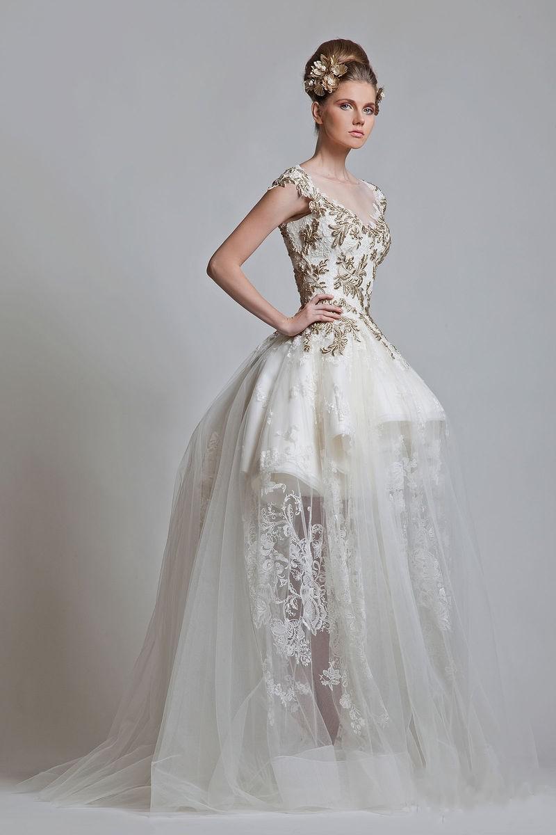 2013 Nyaste Vintage V Neck Ball Gown Appliqued Lace Tull.net Zipper Kortärmad Prom Bröllopsklänning