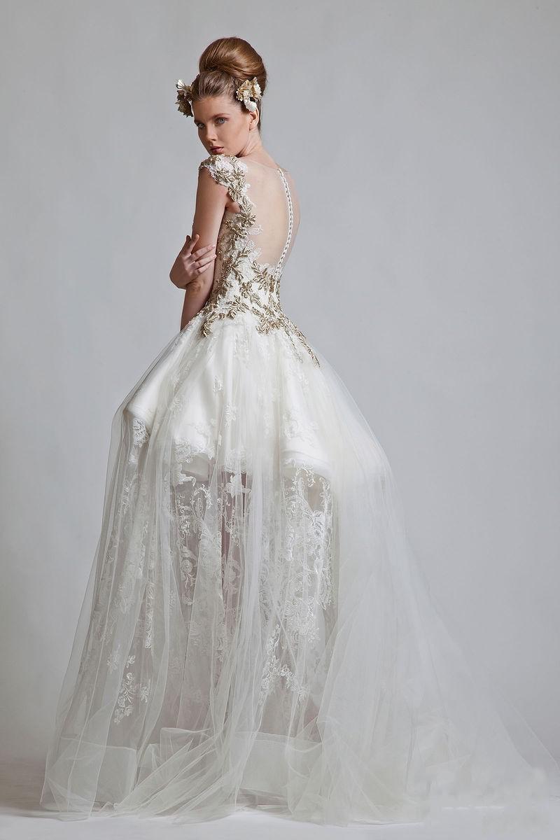 2013 Mais Novo Vintage V Neck vestido de baile Appliqued Lace Tull.Net Zipper mangas curtas vestido de noiva Prom