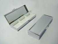 caixa de comprimido de retângulo metálico venda por atacado-10 PCS Metal Retângulo Em Branco Pill Boxes 3 Compartimentos Pill Recipiente - Frete Grátis