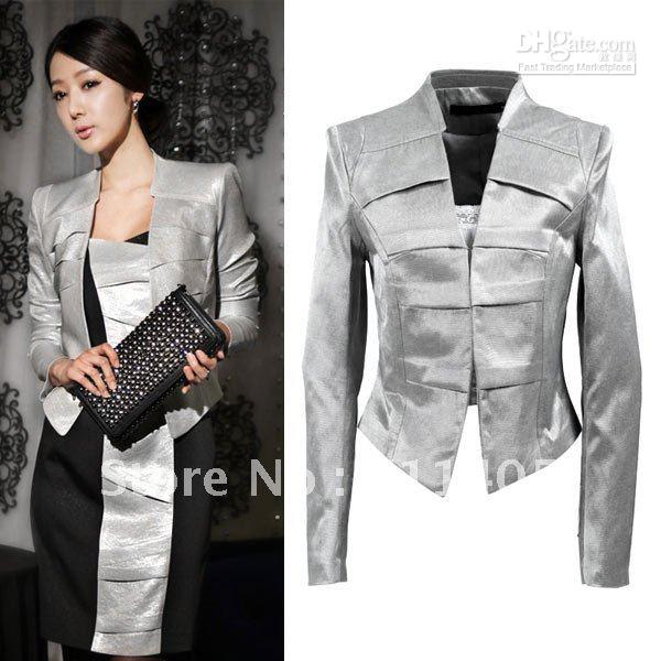 2017 Silver Color Fitted Short Women Blazer Suit Lady Suit Jacket ...
