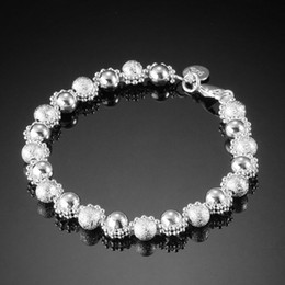 Wholesale Bead Pandant - 2014 Fashion Jewelry Pandant New 925 Silver Plated Bracelets Jewelries Female Jewelry Beads Chain Bracelets SG-7438