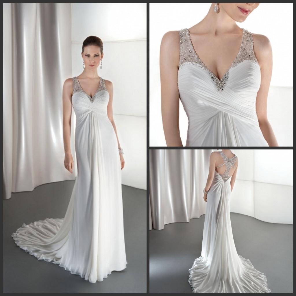 Modern Beach Chiffon Wedding Dresses V Neck Beaded Bridal Gown