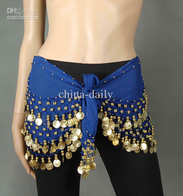 Gratis DHL FedEx 50 stycken Underbar handgjord mage dansbälte Hip Scarf Coin Wrap Belt Skirt Hipcarf Guldmynt Blandade färger