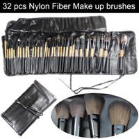 ingrosso spazzole professionale di trucco 32 set-Professionale 32 pezzi 32 pezzi trucco cosmetico set pennelli trucco pennello in fibra di nylon + manico in legno + custodia in pelle