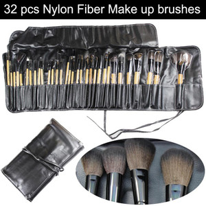 Wholesale Professional cosmetic make up makeup brushes set kits nylon fiber brush wood handle leather case