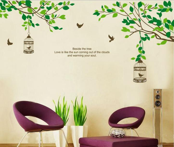 awesome Wall Stickers Tree Branch Part - 11: Removable Wall Sticker Decal Tree Branch Birds Cage Mural Art Modern Wall  Decor JM7128 JM 60x90cm Space Wall Decals Space Wall Stickers From  Jeanwill, ...