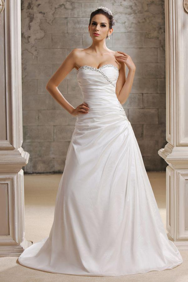 image 1 ball gown strapless sweetheart satin ruched wedding dress