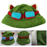 ücretsiz cosplay oyuncaklar toptan satış-Efsaneler Cosplay kap Hat Teemo şapka Peluş + Pamuk Sıcak oyun Lig LOL peluş oyuncaklar Şapkalar Ücretsiz Kargo