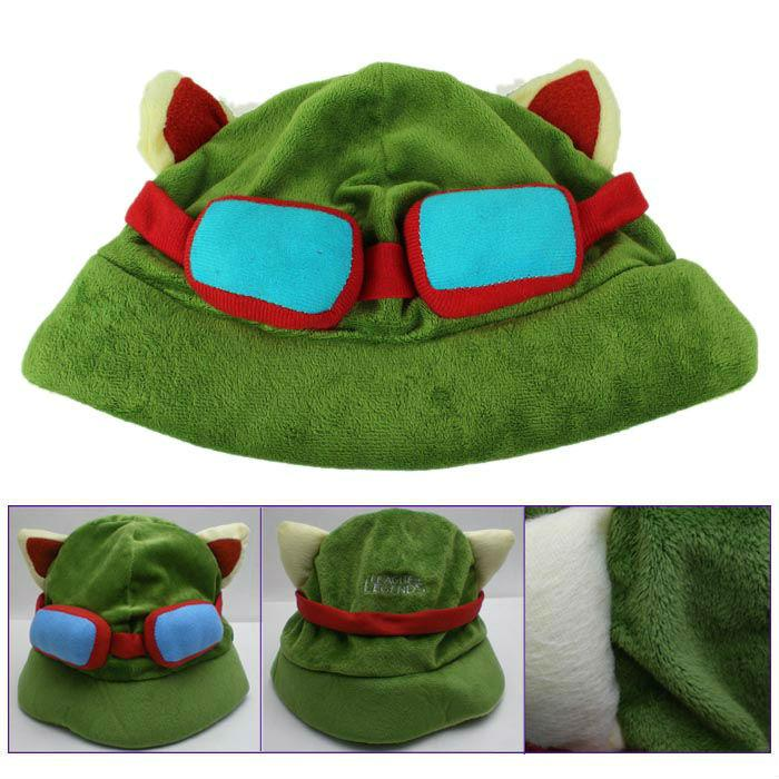 Hot game League of Legends cosplay cap Hat Teemo hat Plush+ Cotton LOL plush toys Hats Free Shipping