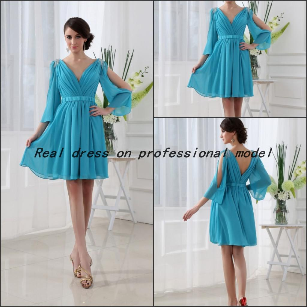 Real Sample Model Long Sleeve Chiffon Formal Light Blue Cocktail ...