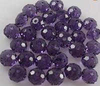 Wholesale Dark Purple Loose Beads - 100pcs lot pretty handicrafts Dark purple loose crystal Faceted rondelle glass beads ,DIY JEWELRY