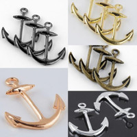 Wholesale Bracelet Anchor Bead Connector - 50pcs 26x34mm mixed Smooth Metal Anchor Connector Charm Beads making Bracelet jewelry findings