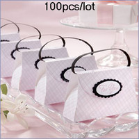 Wholesale graduation favours resale online - 100Pcs Wedding favor boxes of The Pink Plaid Purse Favour Box for Gift candy box and Bridal shower Party gift box