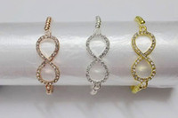 Wholesale Crystal Rhinestone Infinity Bracelet Connector - DIY HOT 15pcs 4mm Mixed Plated Copper Beads Rhinestone Crystal Connectors No8 Infinity Bracelets