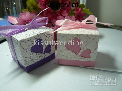 100pcs/lot Heart Design Wedding favor boxes Pink and Purple color For candy box and cake box Love Heat gift box