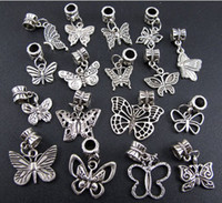 Wholesale Mixed Tibetan Silver - mixed Butterfly Dangle Big Hole Beads 100pcs lot Tibetan Silve Fit Charm Bracelet Jewelry DIY Hot sell