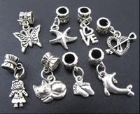 encantos gato metal venda por atacado-100 pçs / lote borboleta cat menina coração charme liga de metal big hole beads fit europeu pulseira jóias diy contas soltas