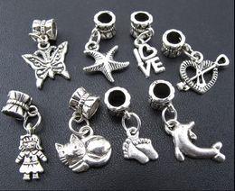 2019 bijoux en alliage papillon 100 pcs / lot papillon chat fille coeur charme alliage de métal gros trou perles ajustement bracelet européen bijoux bricolage perles en vrac bijoux en alliage papillon pas cher
