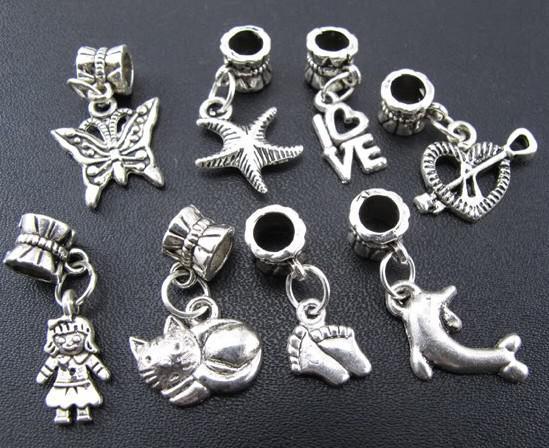 / papillon chat fille coeur charme alliage de métal gros trou perles ajustement bracelet européen bijoux bricolage perles en vrac