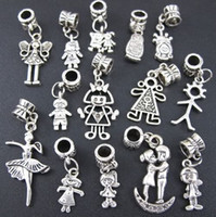 Wholesale Girls Bracelet Charms - Pretty Girl Boy Charm Beads 100pc lot Tibetan Silver Fit European Bracelet Jewelry DIY Loose Beads