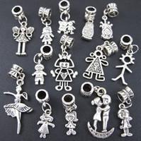 Wholesale Bracelet Boys - Pretty Girl Boy Charm Beads 100pc lot Tibetan Silver Fit European Bracelet Jewelry DIY Loose Beads