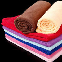 Wholesale Microfiber Towel Microfibre - 50pcs 30*70CM Soft Microfiber Bath Sheet Beach Towel Microfibre Towels Absorbent Cloths Drying Cloth Shower Beach Towels
