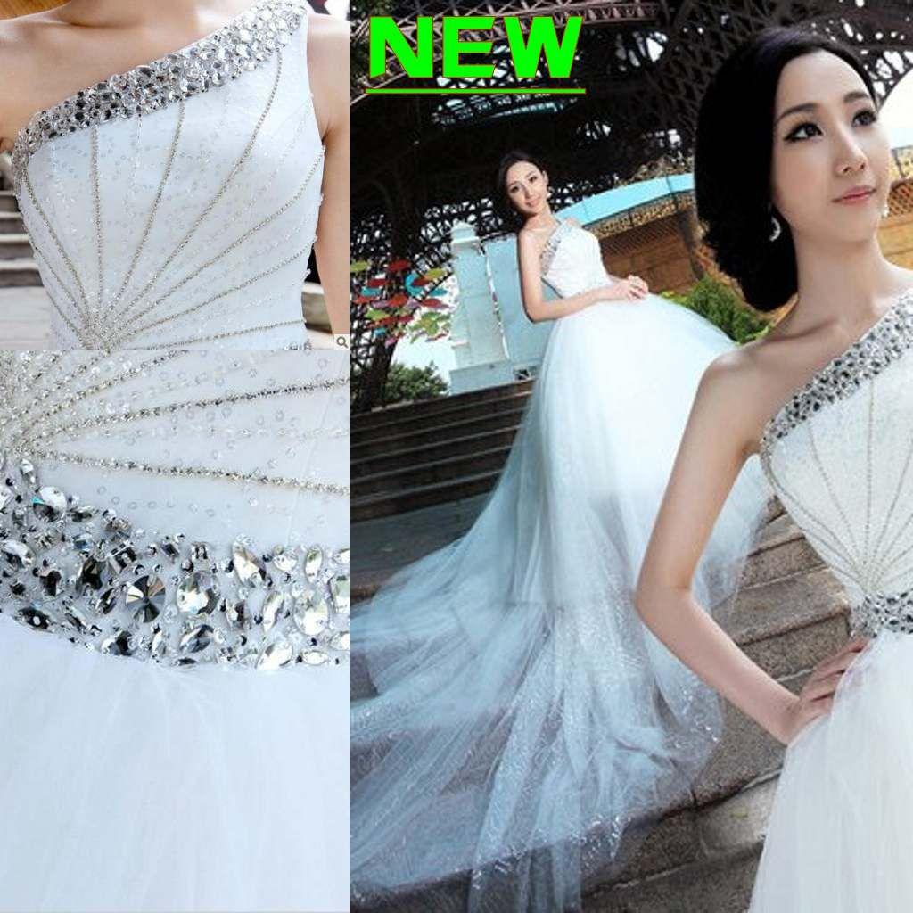 Discount 2013 Gorgeous A Line High Low One Shoulder Sequin Ruffle Beads Zipper Organza Wedding Dresses Dress Es Patterns