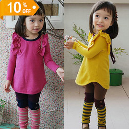Wholesale Dandys Leggings - children clothes, 2016 spring girls Candy colors sweet cute long-sleeved t-shirt + leggings 2pcs suits, 5sets   lot, dandys