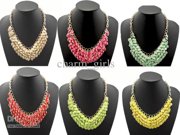 Kvinnor bubbla bib multi lager harts pärla rund bib uttalande halsband heta Välj 2013 varmt