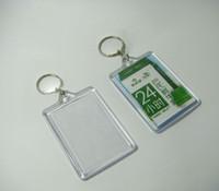 """Wholesale Wholesale Acrylic Photo Holder - 100pcs Blank Acrylic Rectangle Keychains Potho frame Insert Photo Keyrings 2.25""""x 1.65"""""""