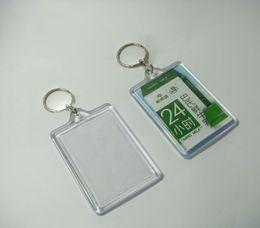 """Wholesale Flag Frame - 100pcs Blank Acrylic Rectangle Keychains Potho frame Insert Photo Keyrings 2.25""""x 1.65"""""""