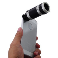Wholesale Iphone5 Telescope Camera - 10pcs lot , 8x Zoom Telescope Camera Lens Kit + Case For new Apple iPhone 5 5G iphone5 , DHL EMS FED