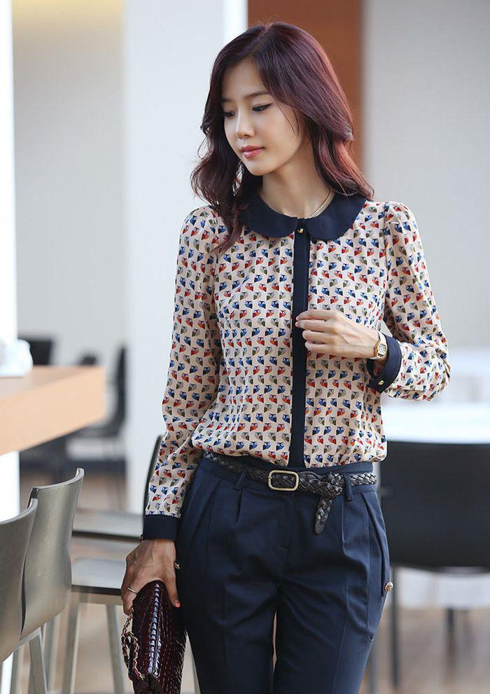2018 Fashion 2013 Lady Blouse New Korean Version Of The Doll Collar Floral Blouse And Top From