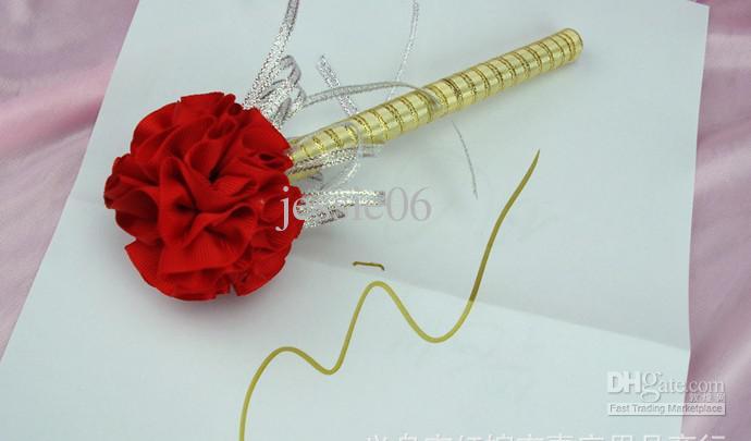 Cravos de flores caneta Casamento tinta Dourada sinal em caneta Recepção de Casamento Convidado Assinatura Noivo Canetas de festa de festa adereços