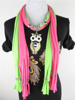 Wholesale Owl Pendant Pink - Jewellry Scarf With Big Colorful Owl Pendant 10pcs lot